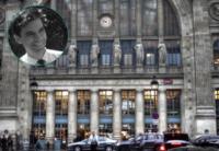 Photo de la façade de la gare du Nord et de Gilles Badin
